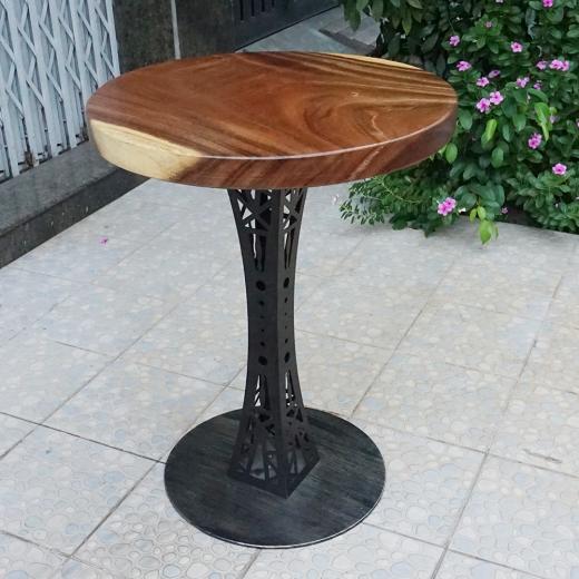Bàn cà phê gỗ me tây tròn 60cm dày 5cm chân sắt cách điệu