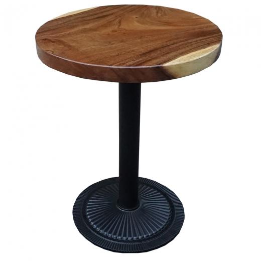 Bàn cà phê gỗ me tây tròn 60cm dày 5cm chân sắt đế gang đúc