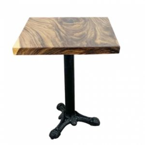 Bàn cà phê vuông gỗ me tây dày 5 cm chân gang đúc 3 chĩa