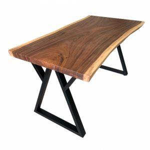 Bàn gỗ me tây 80x160cm dày 5cm chân sắt W