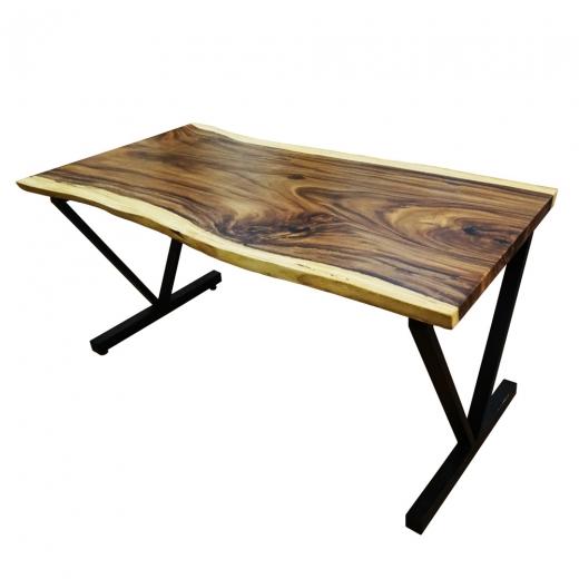 Bàn gỗ me tây dày 5cm chân sắt chữ V (80x160x78cm)
