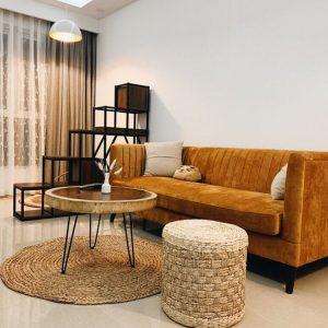 Bàn sofa gỗ me tây nguyên tấm đơn giản
